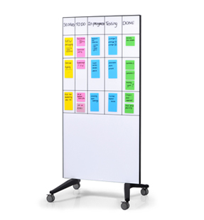 Rollbares Whiteboard aus Glas in Farbe weiss